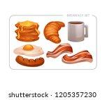 happy breakfast  vector cartoon ... | Shutterstock .eps vector #1205357230