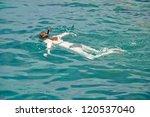 active woman diving snorkeling... | Shutterstock . vector #120537040