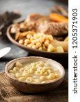 sopa de galets or escudella de... | Shutterstock . vector #1205371903