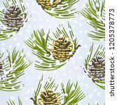 seamless texture christmas and... | Shutterstock .eps vector #1205378773