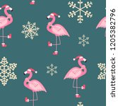 cute pink flamingo new year and ... | Shutterstock . vector #1205382796