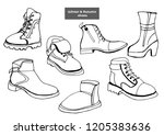 isolated vector set of women's... | Shutterstock .eps vector #1205383636