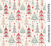 seamless christmas pattern.... | Shutterstock . vector #1205394496