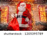 portrait of good old santa... | Shutterstock . vector #1205395789