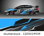 racing car wrap design vector.... | Shutterstock .eps vector #1205419939