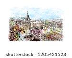 building view with landmark of... | Shutterstock .eps vector #1205421523