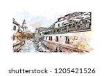 building view with landmark of... | Shutterstock .eps vector #1205421526