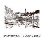 building view with landmark of... | Shutterstock .eps vector #1205421550