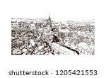 building view with landmark of... | Shutterstock .eps vector #1205421553