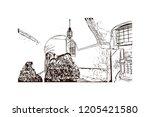 building view with landmark of... | Shutterstock .eps vector #1205421580