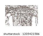 building view with landmark of... | Shutterstock .eps vector #1205421586