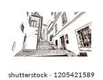 building view with landmark of... | Shutterstock .eps vector #1205421589