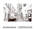 building view with landmark of... | Shutterstock .eps vector #1205421610