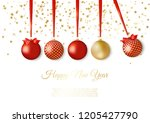 gold and red decorative... | Shutterstock .eps vector #1205427790