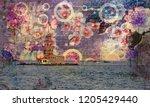 3d wallpaper design with... | Shutterstock . vector #1205429440