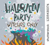 halloween party poster with... | Shutterstock .eps vector #1205430376