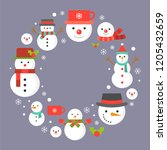 snowman and snowflakes icon on... | Shutterstock .eps vector #1205432659