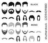 mustache and beard  hairstyles... | Shutterstock .eps vector #1205439880