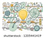 sketch of people teamwork ... | Shutterstock .eps vector #1205441419