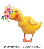 Stock photo little duckling with a floral wreath 1205448460