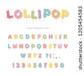 lollipop candy font design.... | Shutterstock .eps vector #1205454583