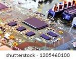 electronic circuit board close... | Shutterstock . vector #1205460100