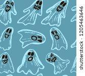 halloween. set of ghosts.... | Shutterstock .eps vector #1205463646