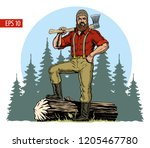 lumberjack with axe and downed... | Shutterstock .eps vector #1205467780