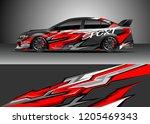 racing car wrap design vector.... | Shutterstock .eps vector #1205469343