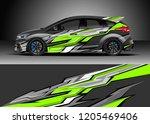 racing car wrap design vector.... | Shutterstock .eps vector #1205469406