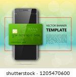 smartphone   credit card banner....   Shutterstock .eps vector #1205470600