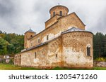 Serbian Orthodox Monastery Sopocani, 13th Century, Serbia. Overview of a monastery close to serbian city of Novi Pazar