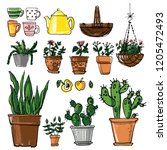 set potted flowers sketch black ... | Shutterstock .eps vector #1205472493