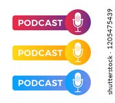 podcast radio icon illustration.... | Shutterstock .eps vector #1205475439