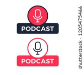 podcast radio icon illustration.... | Shutterstock .eps vector #1205475466