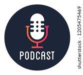 podcast radio icon illustration.... | Shutterstock .eps vector #1205475469