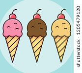 simple  flat ice cream cone... | Shutterstock .eps vector #1205479120