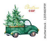 christmas abstract retro car... | Shutterstock . vector #1205483959