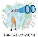 happy tourist woman looking... | Shutterstock .eps vector #1205488780