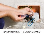 electrician at work with a plant | Shutterstock . vector #1205492959