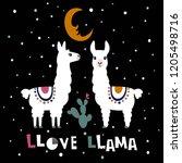 llama alpaca. love llama card.... | Shutterstock .eps vector #1205498716