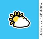 cartoon sticker with sun and...   Shutterstock .eps vector #1205502886