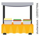 street stall with food pots ... | Shutterstock .eps vector #1205527006