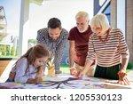 our task. pleased senior woman... | Shutterstock . vector #1205530123