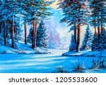 winter landscape with the river.... | Shutterstock . vector #1205533600