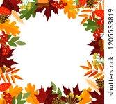 autumn leaves frame decor ... | Shutterstock .eps vector #1205533819