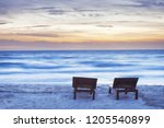 moody sunset beach with two... | Shutterstock . vector #1205540899