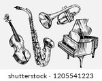 a set of musical instruments ... | Shutterstock .eps vector #1205541223