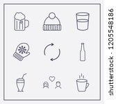 outline 9 cold icon set.... | Shutterstock .eps vector #1205548186