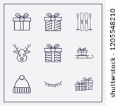 outline 9 winter icon set.... | Shutterstock .eps vector #1205548210